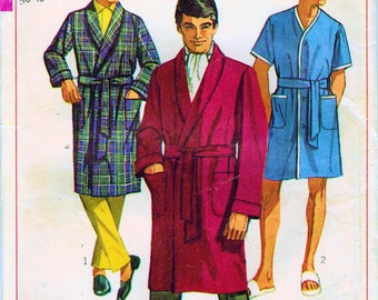 1960s Simplicity 7935 Vintage Sewing Pattern Men's Bath Robe, Lounging Robe, Beach Robe Size XL Chest 46 - 48