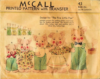 1930s McCall 43 Vintage Sewing Pattern Five Little Pigs Soft Dolls, Wardrobe