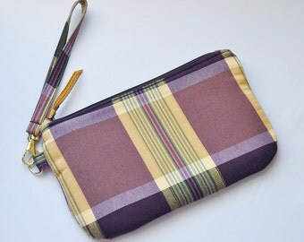 Easy Wristlet with Strap in a Purple and Tan Stripe