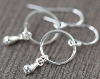 Valentine's Day gift Minimal earrings Teardrop earrings in sterling silver  gifts for her
