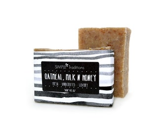 Soap Oatmeal, Milk and Honey Soap Bar Exfoliating Vegan Soap