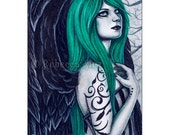 Viridian Limited Edition ACEO Print gothic angel Green black Artist Trading Cards ATC Fantasy Art