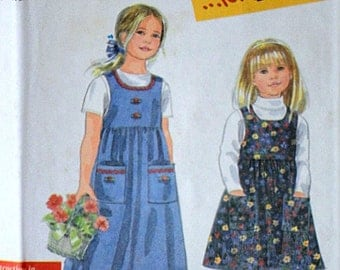 Simplicity 8340 It's So Easy For kids Sewing Pattern, Girls' Jumper, Sizes 3-4-5-6-7-8, Uncut Factory Folded