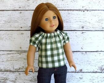 Irish Lass - American Girl Doll Clothes St Patricks Day Green Plaid Peasant Top