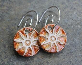 Orange Sunburst Earrings