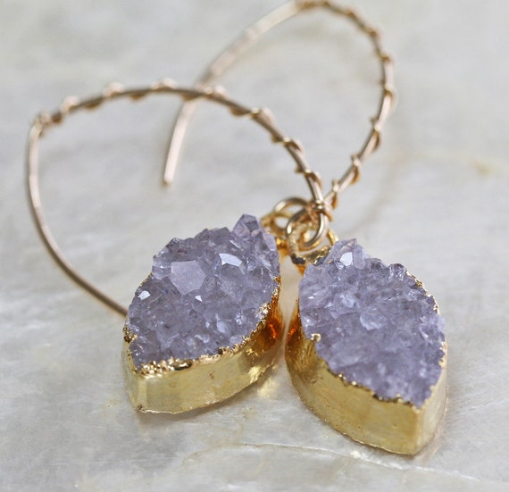 Dainty Druzy Earrings with Drop