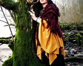 Magic High Priestess Horn Headdress Art Photography Feather Ram Wand Mossy Tree Wiccan Pagan Greeting Card AMALTHEA RISEN by Spinning Castle