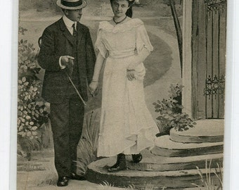 Beautiful real photo vintage postcard, lovely couple walking hand in hand antique postcard vintage postcard, SharonFosterVintage