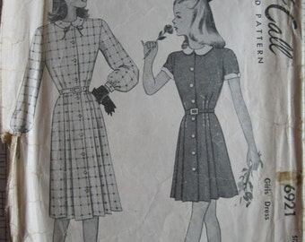 """1947 Girls' Dress - Size 7 / 25"""" Chest - McCall 6921 - Vintage 1940s Sewing Pattern"""