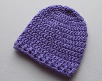 Newborn Crochet Hat, Wisteria Purple Beanie, Baby Hat, Infant Photo Prop, Coming Home Hat, Baby Girl Hat, Baby Gift, Ready to Ship
