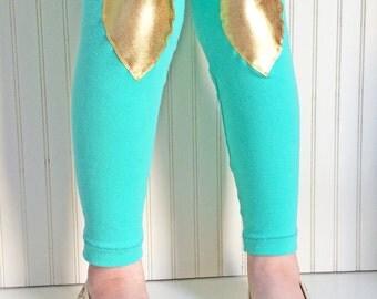 Heart Leggings Girls Leggings Gold Heart Leggings Mint and Gold Tights Metallic Girls Leggings Leggings for Tweens Gold Heart Tights