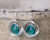 Silver twisted ring, aquamarine glass earrings,unique, organic crystal, blue,ocean, beach, sea glass, jewelry, handmade in Santa Cruz