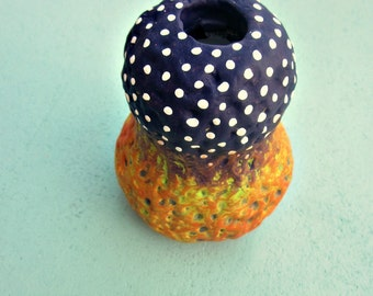 Purple Polka Dot Chartreuse and Orange Paper Mache Bud Wet Vase or Reed Diffuser Bottle: Wild Thing