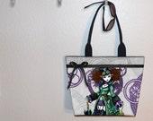 Myka Jelina Steampunk vampire girl tote bag, Infinita Tempore, book tote, large purse, canvas tote, shoulder bag