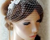 Wedding headpiece, headband, Bridal headband with small bridal blusher veil, bridal rhinestone headband