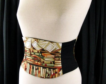 Bibliophile Corset Belt Waist Cincher Any Size Library and Book Lover