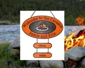 Campfire Oval  Graphic - Large w 2 add ons - Custom Carved Redwood Sign