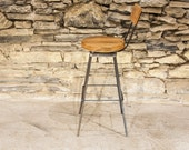 Free Shipping - The Sully - Reclaimed Wood and Industrial Rebar Swivel Bar Stools