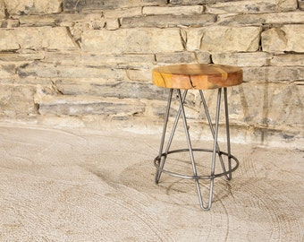 Reclaimed Maple Swivel Bar Stools With Rebar Legs And Back