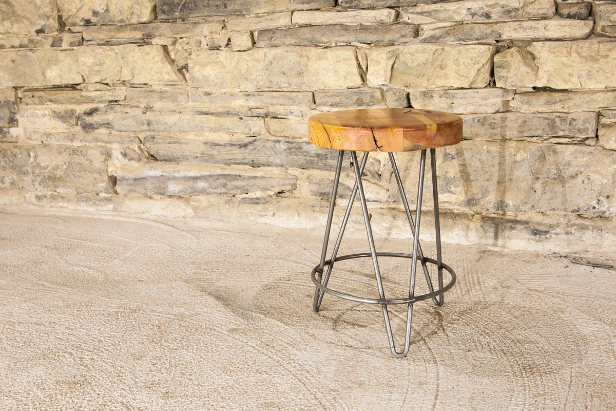 Free shipping reclaimed wood and metal hairpin leg tripod for Where to find reclaimed wood for free