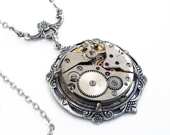 Gatsby - Silver Steampunk Necklace