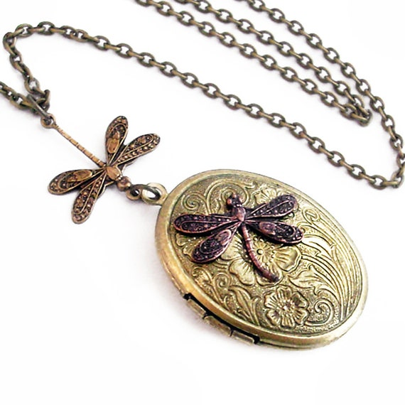 Etched Bronze Oval Locket - Flight of the Dragonfly Necklace Jewelry Jewellery