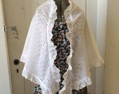 1970s White Eyelet Lace Cotton Shawl Wrap Victorian Style Cape nice for Wedding or Prom