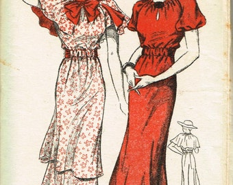 VINTAGE 1930s New York Ladies and Misses Size 14 TUNIC Dress Pattern Separate CAPE Big Bow Raglan Sleeve Options Factory Folded 134