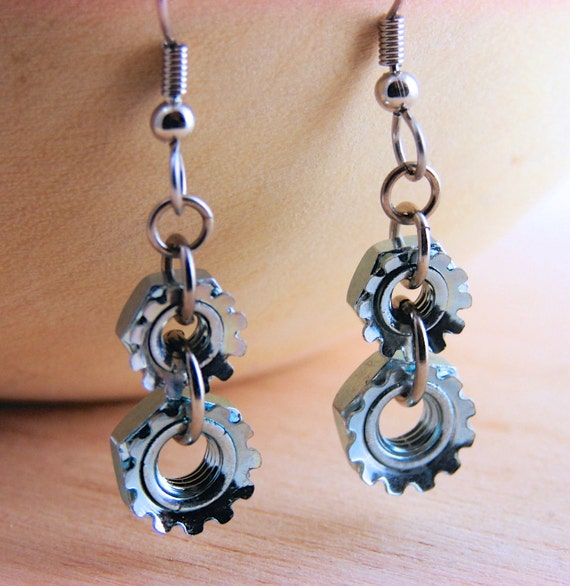 Steampunk Drop Earrings Dangle Earrings Hardware Jewelry Industrial Lock Nuts