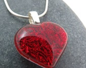 Heart Jewelry - Valentine Fused Glass Necklace - Bright Red Heart -  Be Mine