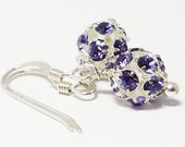 Purple Swarovski Crystal Earring/Swarovski Crystal Disco Ball Earring/Purple Rhinestone Disco Ball Bead/Swarovski Jewelry/Crystal Jewelry