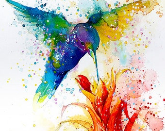 Hummingbird #2 • watercolor painting • A4 • A3 • art print