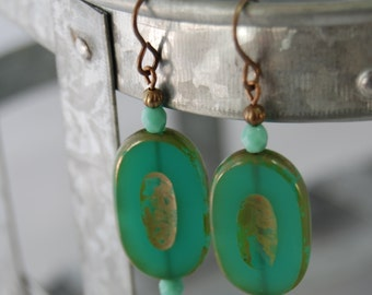 Teal green chunky Czech glass earrings by CURRICULUM