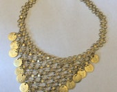 Vintage chain and coin gold tone necklace, with stars, adjustable length