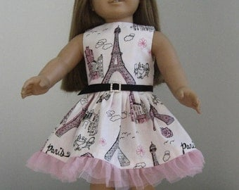 Doll Clothes Made For AMERICAN GIRL DOLLS  Paris Dress and Belt Fits American Girl Dolls  Fit American Girl Dolls
