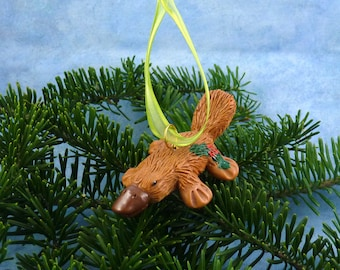 Xmas Platypus Ornament with Holly Tush, Handmade Christmas Decoration