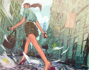 "Downtown - Illustration Fine Art Print by Jonny Ruzzo - 13"" x 19"""