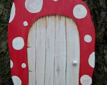 "Huge Wood Fairy Door, Red Fantasy Mushroom Portal 12"""