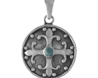 Blue Turquoise Fleur de Lis Shield Sterling Silver Pendant on Black Cord