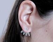 Filigree Ear Jacket, Silver Ear cuff, Spiked Ear Jackets, Ear Jacket Earrings
