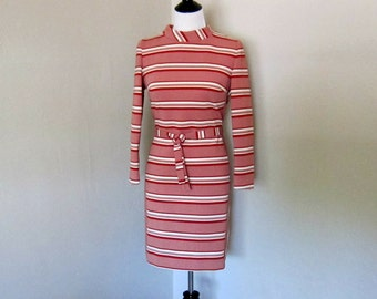 Vintage Mod Dress with Belt, 1970s Long Sleeved Brick Red and White Striped Dress by Joyce, Vintage Size 11-12