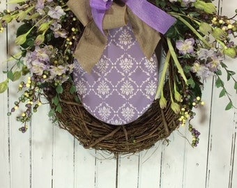 Easter Wreath for Door, Egg Wreath for Easter, Easter Door Decor, Spring Wreath for Easter