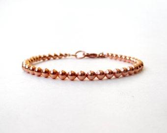 Copper Bead Bracelet - 4mm Beads - Everyday Wear - Copper Ball Bracelet