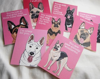 German Shepherd Valentines - Mini Eco-friendly Set of 8