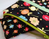 lined floral and gingham zipper pouch and lined tissue holder set