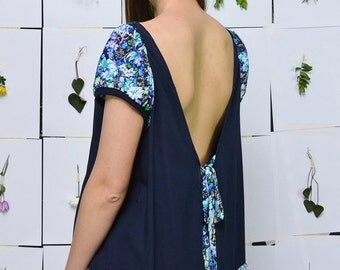 ON SALE! Blue is the color Viscose Tunic//Open Back S.M.L.