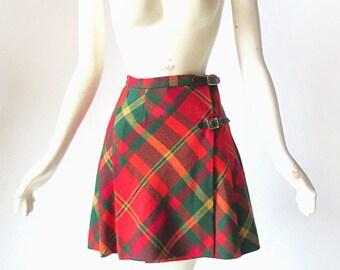 60s Mini Skirt / Tartan Kilt / Plaid Skirt / 1960s Skirt / 23W XXS