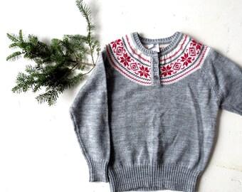 Fair Isle Sweater | 60s Sweater | Snowflake Sweater | Medium M