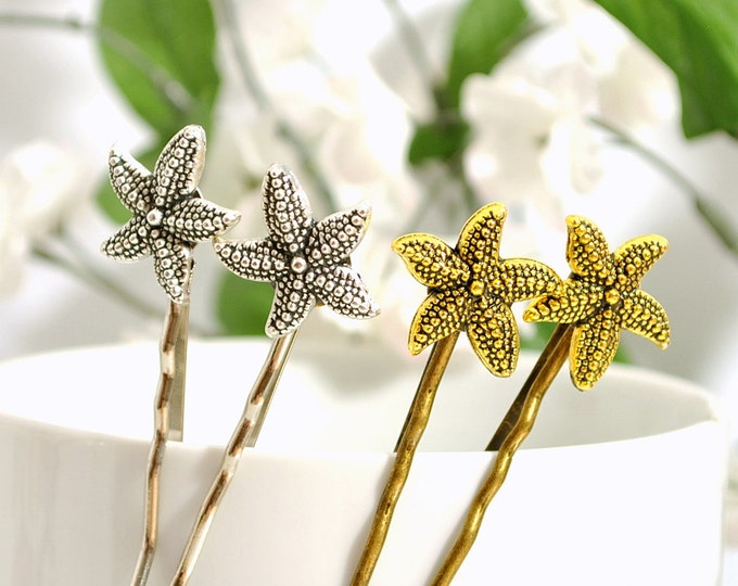 Gold Starfish Bobby Pin Beach Hair Pin Sea Star Bobbies Beach Wedding Hair