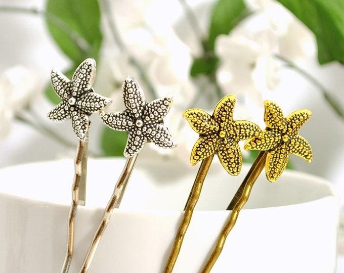 SALE - Gold Starfish Bobby Pin Beach Hair Pin Sea Star Bobbies Beach Wedding Hair